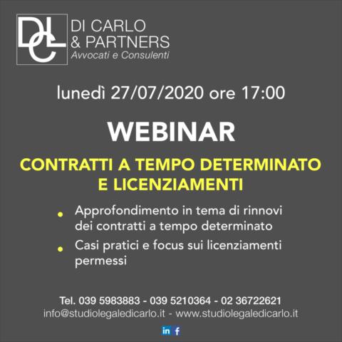 Lunedì 27 luglio, ore 17.00, webinar con Studio Legale Di Carlo. Quesiti su contratti a termine e licenziamenti.