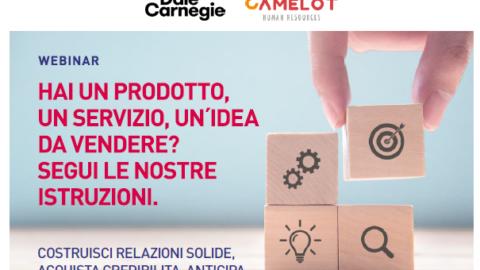 Non mancate al webinar del 16 luglio, alle 17.30, con Dale Carnegie! Come vendere al meglio un prodotto, un'idea, un servizio.