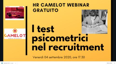 Venerdì 04 settembre, ore 17,30, webinar sui test psicometrici nel recruitment